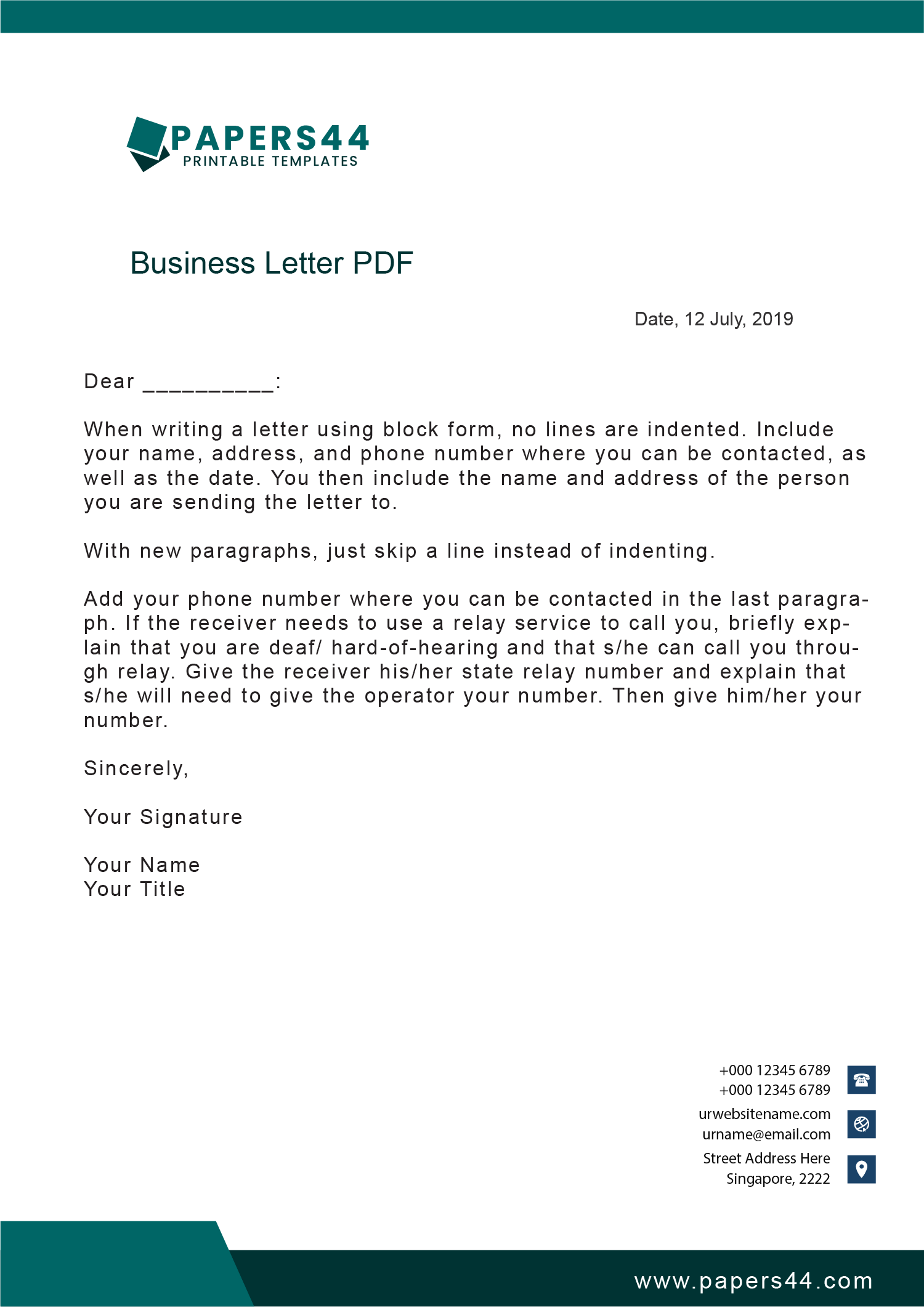 Quality Business Letter Templates