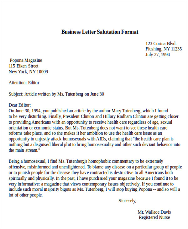 Salutation In Business Letters Scrumps