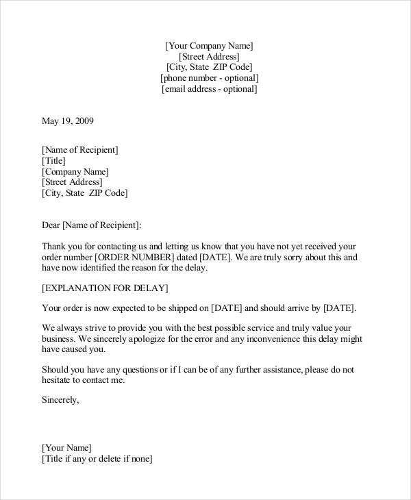 Sample Apology Letter Template 16 Free Word PDF