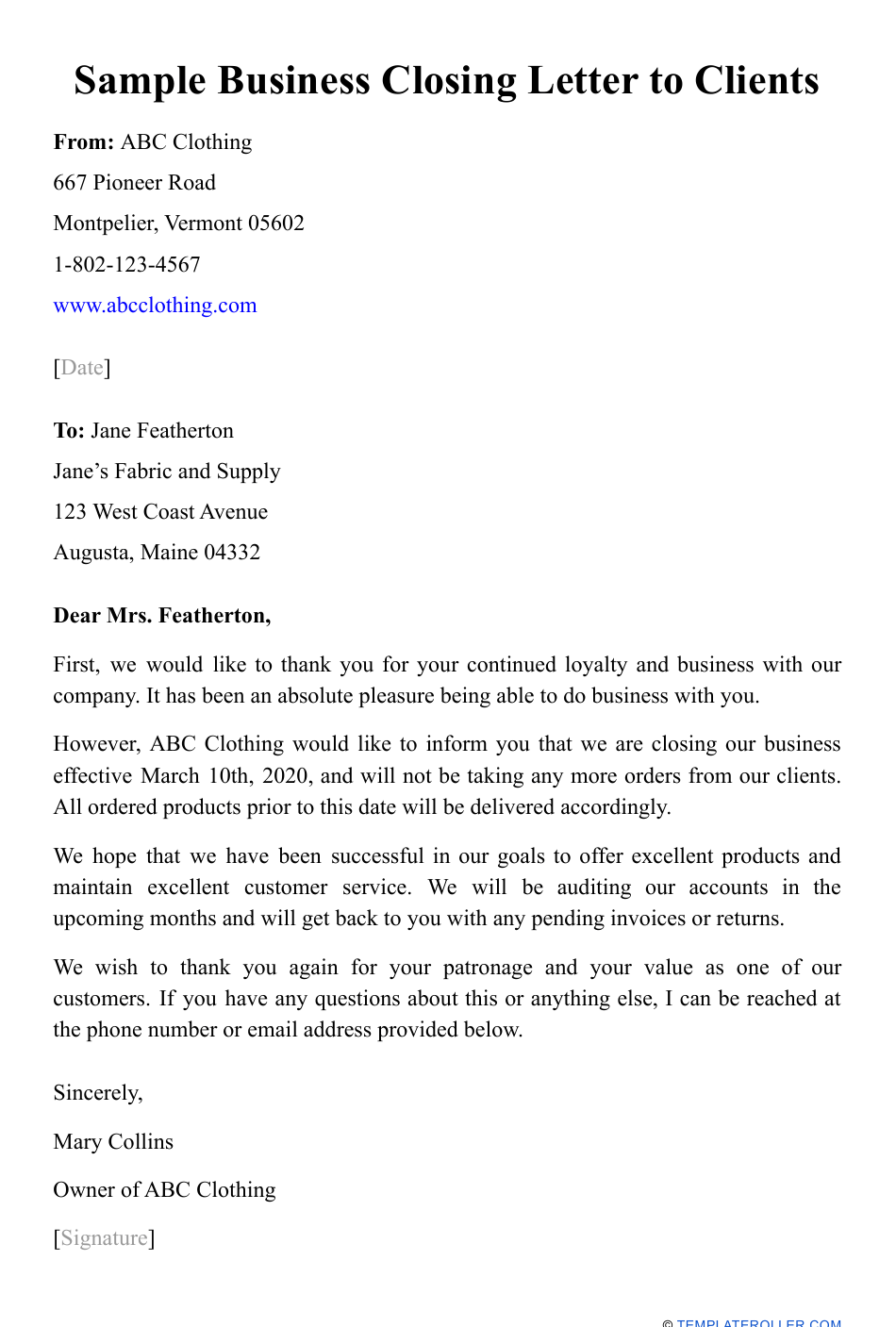 Sample Business Closing Letter To Clients Download