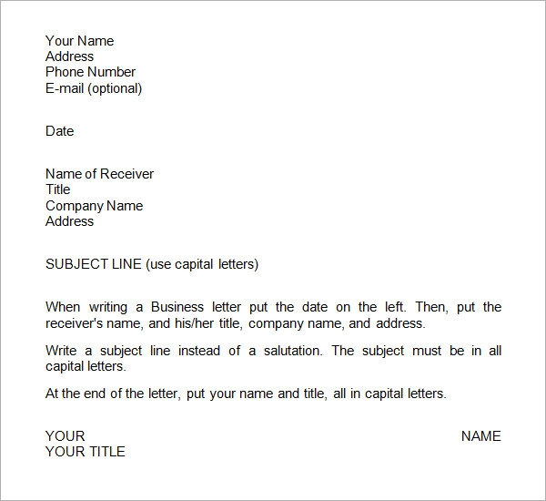 Sample Business Letter Example 7 Samples Examples