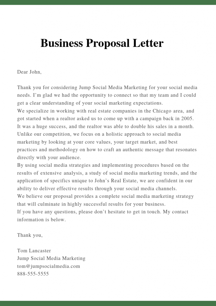 Sample Proposal Letter Template For Business PDF Doc