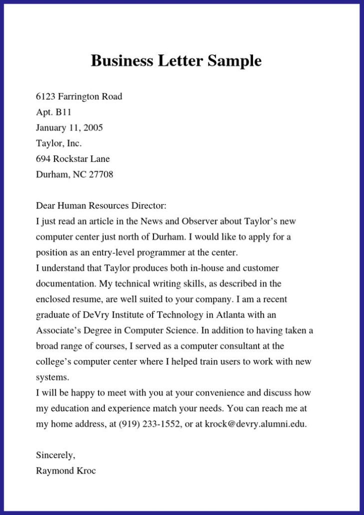 Copy Of A Business Letter