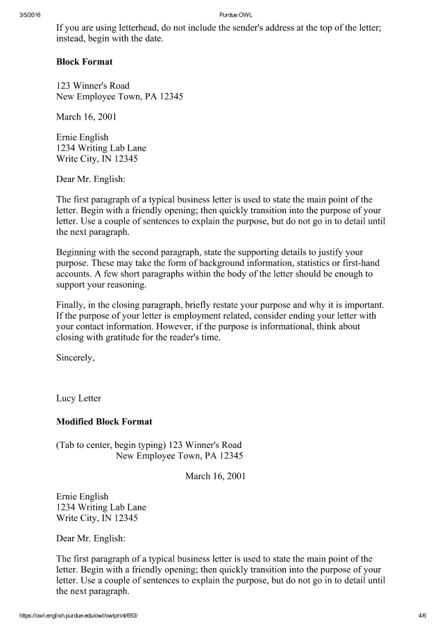 TC 41 Business Letter Purdue OWL Welcome To The Purdue