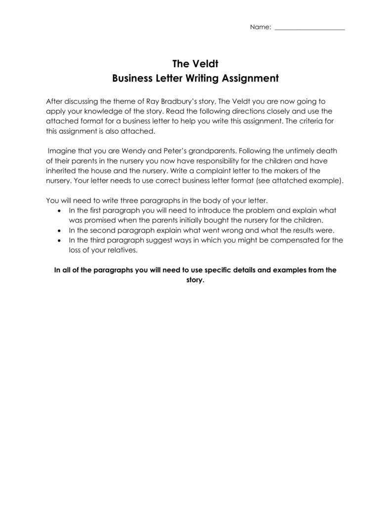 The Veldt Business Letter Assignment