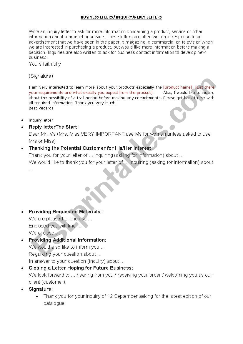 Writing A Business Letter ESL Worksheet By Yahyounfw